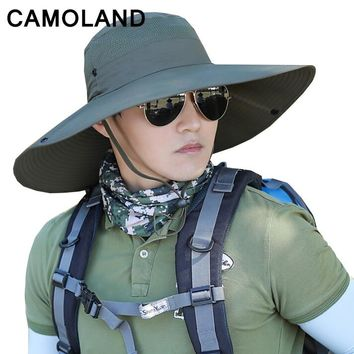 14cm large Brim Sun Hat for men women Summer Beach Bucket Hat Fishing Hiking Outdoor Sports UV Protective Boonie Camouflage