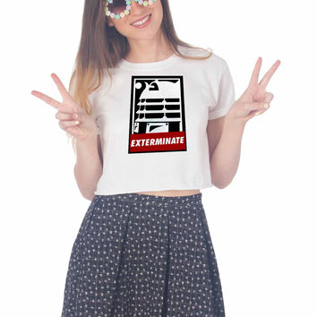 EXTERMINATE OBEY For Womens Crop Shirt **