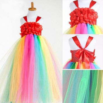 fashion teenager party pageant gowns kids for girl rainbow dress costume