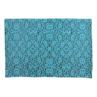 Elegant Turquoise Lace Print Pillowcase Pair