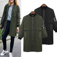 SIMPLE - Fashion Autumn Women Extra Plus Size Loose Windbreaker a12998