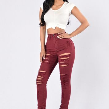 Womens Casual Red Rip High Waist Slim Jeans