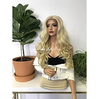 Balayage Blond Human Hair Blend Free Style 14x4 Deep Part Silk base Swiss Lace Front Wig -  Nicolet 111718