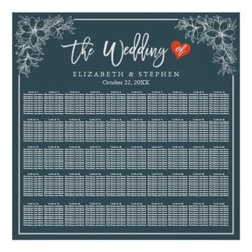 50 Tables Blue White Floral Wedding Seating Chart
