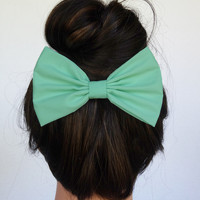 Hair Bow Clip - Mint