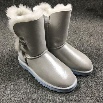ESBNW6 Sale Ugg 1002174 W Irina Clouds Smoke White Classic Bailey Button Bling Boot Snow Boots