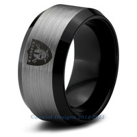 Oakland Raiders Brushed Silver Beveled Tungsten Ring