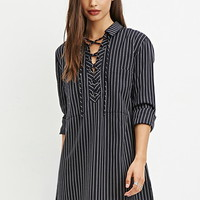 Pinstriped Lace-Up Dress
