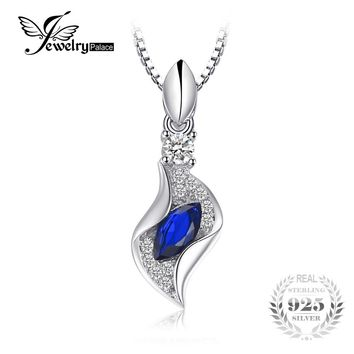 JewelryPalace Fashion 0.38ct Marquise Created Blue Spinel Women Pendant 100 925 Sterling Silver Fine Jewelry Not Include a Chain