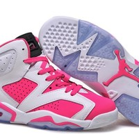 Air Jordan 6 Retro AJ6 White/Pink Women Basketball Shoes US 5.5-8