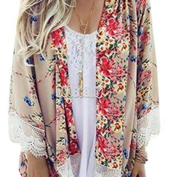 [13355] Women Sheer Chiffon Blouse Loose Tops Kimono Floral Print Cardigan