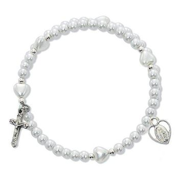 AUGUAU Catholic Girl's First Communion Rosary Bracelet - Elegant White Imitation Pearl First Communion Wrap Bracelet with Rhodium Plated Miraculous Medal and Crucifix. This Beautiful Catholic Jewelry Comes Packaged in a White Leather Gift Box to Complimen