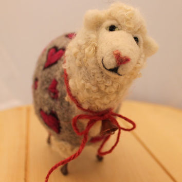 Lambies in Jammies needlefelted Sheep i love  you  #132