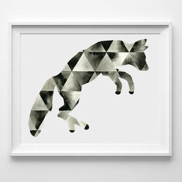 Large Hand Painted Art . Watercolor Fox . Geometric Triangle Painting . Fox Art . Watercolor Painting . Black White Graphic Art