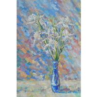 White Iris Flowers Bouquet in vase Original Oil Painting Palette knife Colorful Pastel Still Life Abstract Art Impression Child room Decor