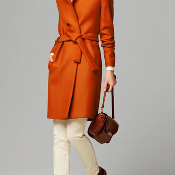 BELTED ORANGE COAT - View all - Coats - WOMEN - United States