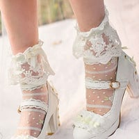 Japanese sweet white lace bow high heel shoes