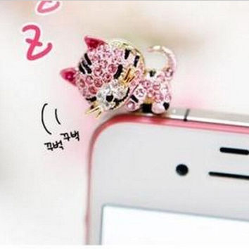 Pro Base 3.5mm Bling Shinning Rhinestone Crystal Cellphone Charms Stoppers Earphone Jack Anti Dust Plug Ear Jack Cap for iPhone 4 4S Samsung Galaxy S2 S3 Note I9220 HTC Sony Nokia - Purplish Pink Rhinestone Cat Style = 1929961540