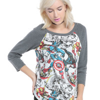Marvel Heroes Girls Reversible Raglan