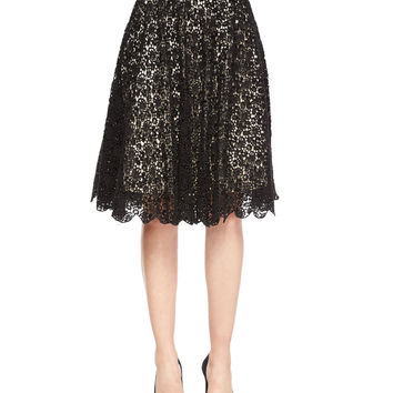 Earla Pleated Lace Skirt, Size: