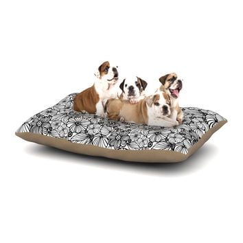 "Julia Grifol ""Candy Flowers In Black"" Gray White Dog Bed"