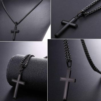 Cross  Enamel  Pendant  Necklace  Stainless  Steel