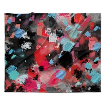 "Rosa Picnic ""Abs-7"" Black Blue Abstract Contemporary Painting Watercolor Fleece Throw Blanket"
