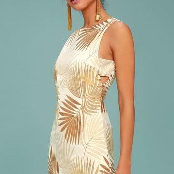 Royal Palms Gold Brocade Dress