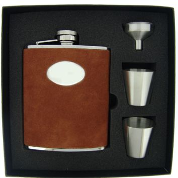 Visol Hunt Brown Leather Deluxe Hip Flask Gift Set - 6 oz