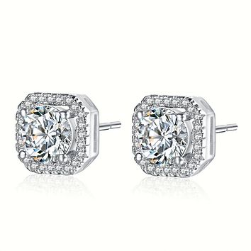 Halo Crystal Stud Earrings Gold Plated