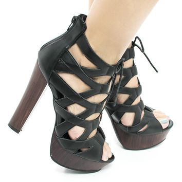 Simple38 Black Pu By Wild Diva, Cut Out Corset Lace Up Platform Chunky Block Heel