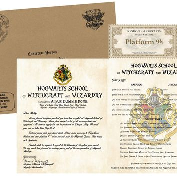 Personalized Harry Potter Acceptance Letter - with Kraft Envelope, Supply List and Train Ticket - Hogwarts School of Witchcraft and Wizardry