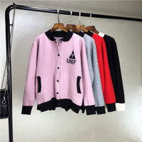 UNIF On Sale Sports Hot Deal Korean Women's Fashion Knit Tops Jacket Sweater Baseball [6341273732]