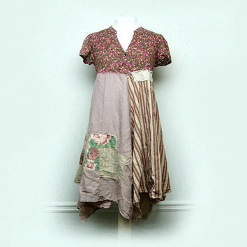 Medium Boho Shabby Chic Dress, Funky Artsy Patchwork Dress, Rustic Mori Girl Style Eco Friendly Upcycled Clothing by Primitive Fringe