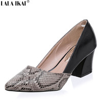 LALA IKAI Plus 10 11 Size Snakeskin Pattern Women Pumps Sexy Pointed Toe High Heels Shoes Woman Zapatos Mujer Tacon XWC0486-5