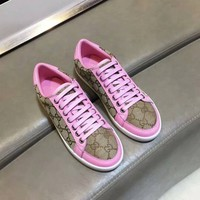 Gucci Women Genuine Leather Classic Double G Pink Fashion Canvas Sports Sneakers Shoes