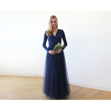 Navy Blue maxi tulle dress with long sleeves 1066