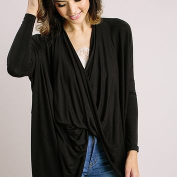 Selena Black Surplice Longsleeve Top