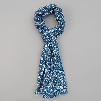 Small Flowers Print Scarf, Blue