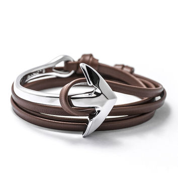 Silver Anchor Half-cuff On Brown Leather Bracelet