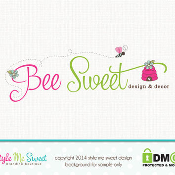 Custom Premade Bee Logo - Hive Logo Photography Logo Hand Drawn Small Business Branding Watermark Design