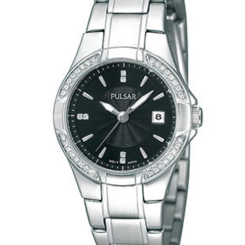 Pulsar Swarovski Crystal Ladies Dress Sport Watch - Black Dial - Steel Bracelet