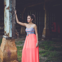 Never Making A Change Strapless Aztec Dress: Coral