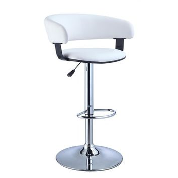 Powell White Faux Leather Barrel & Chrome Adjustable Height Bar Stool