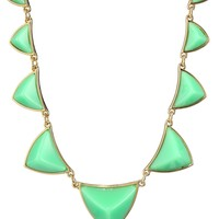 House of Harlow 1960 Green/Gold Plated Pyramid Station Necklace, 20""
