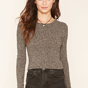 Marled Ribbed-Knit Top