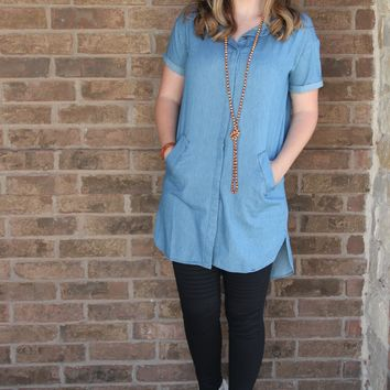 Denim Button Down Tunic