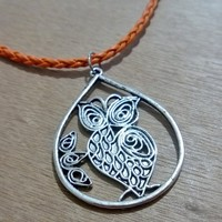 Leather Inspired Necklace -Owl Pelhuo  from Pelhuaz by Red