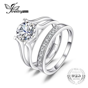 JewelryPalace 2ct Anniversary Wedding Band Solitaire Engagement Ring Bridal Channel Pure Set 925 Sterling Silver Jewelry On Sale