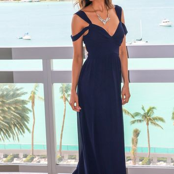Navy Pleated Off Shoulder Maxi Dress